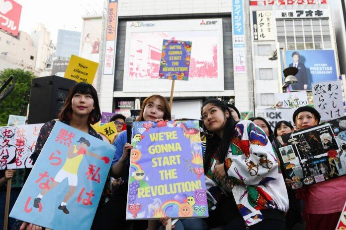 Protestors for the #KuToo Movement in Japan