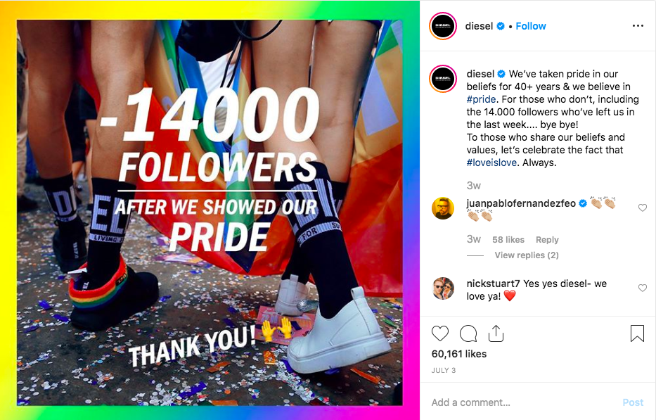 Diesel Pride Followers Instagram 2019