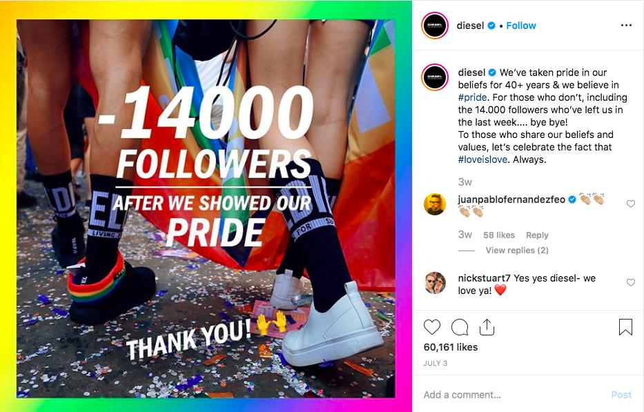 Diesel Pride Followers Instagram 2019