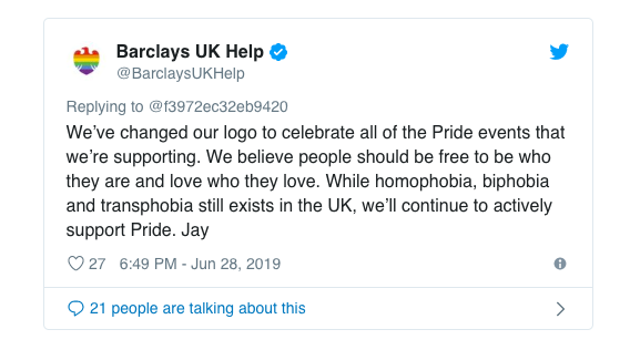 Barclays Pride Response Twitter