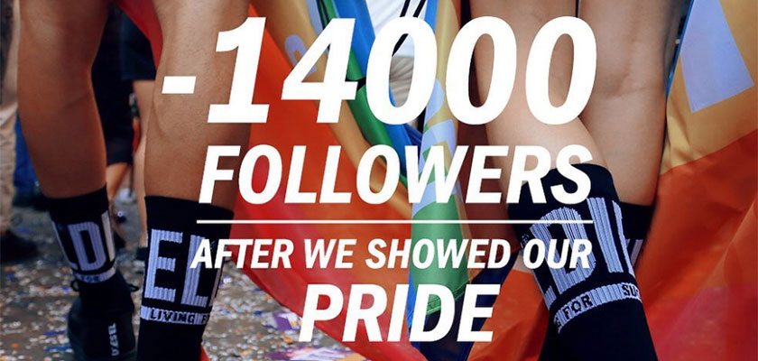 アクティベーション。Diesel Loses Followers 2019 Pride
