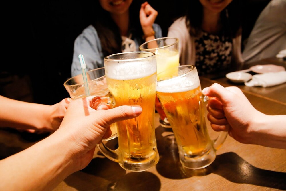 Japanese drinking beer