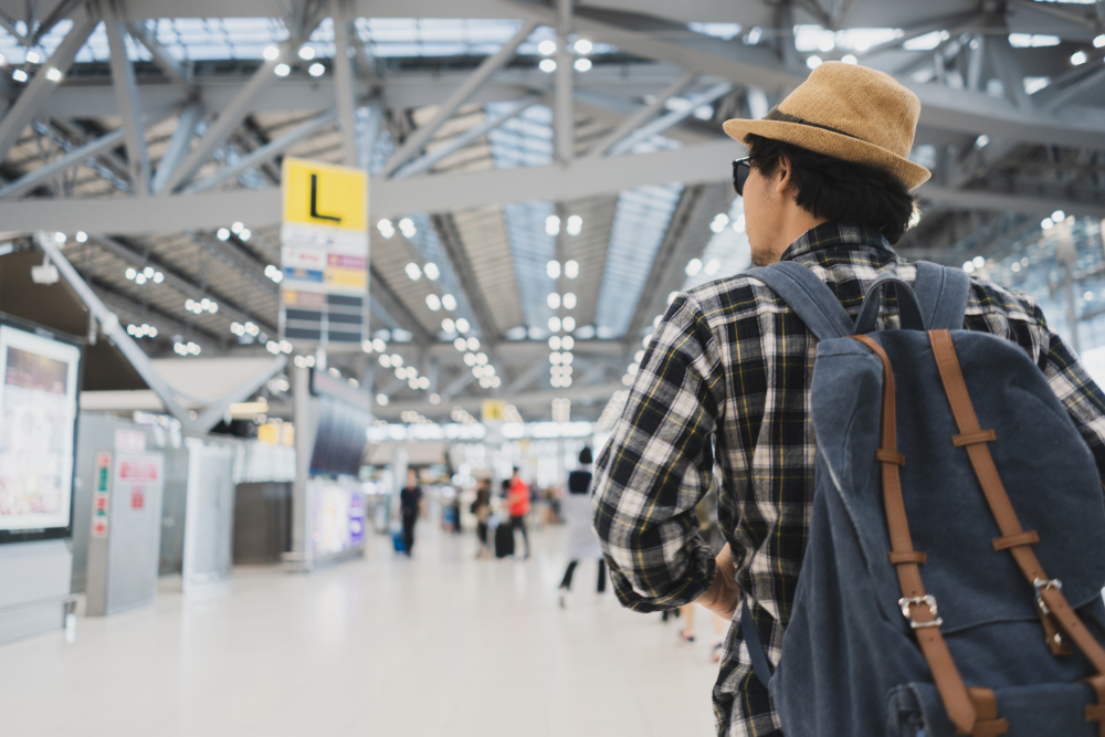 Asian man travelling at the airport
