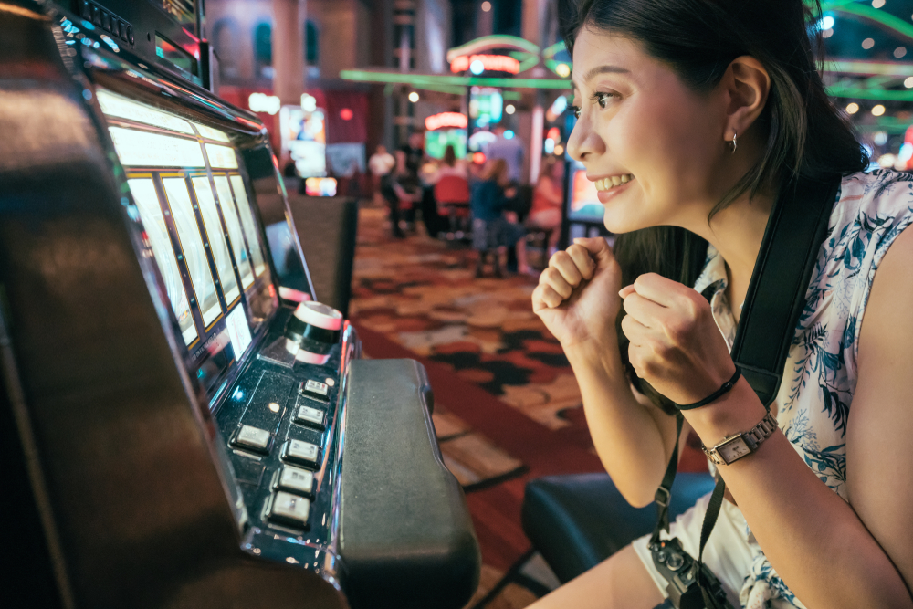 Woman gambling at a casino
