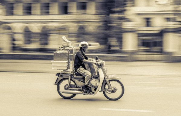 Food delivery services in Japan Takeaway Driver on Bike